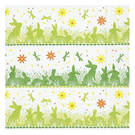 Guardanapo de Papel Decorado Estampado Coelhinho da Páscoa Luxo Pacote com 20 unidades Bunny Meadow