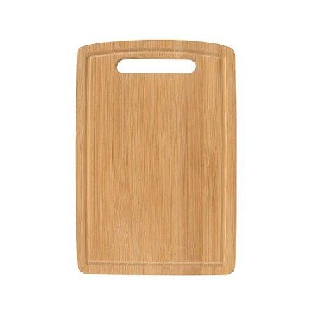 Tábua de Corte Carnes Legumes Churrasco em Bambu 30 x 20 cm Rústica Cozinha Completa Servir