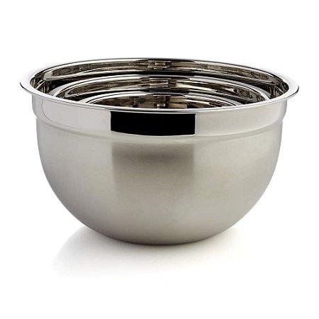 Tigela Mixing Bowl em Aço Inox Profissional Fundo Multiuso 26 x 15cm Utensílio Preparação Cozinha