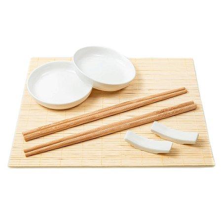 Jogo Hashi Molheira Esteira Bambu Descanso Pauzinho Japones Sushi 02 Pessoas Comida Japonesa