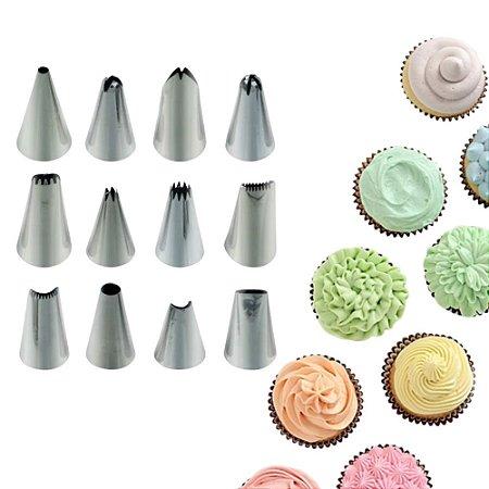 Kit Bico de Confeitar 12 Peças Aço Inox Decoração Bolo Cupcake Doces Biscoito Confeitaria