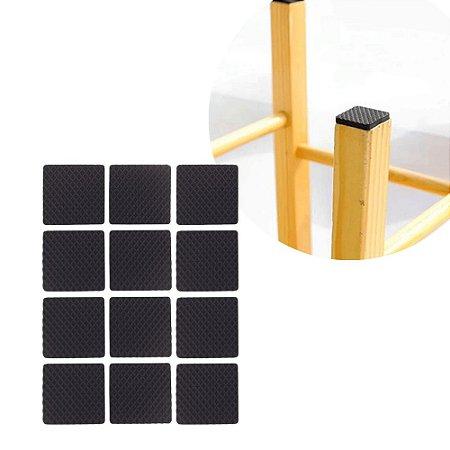 Kit 12 Feltro Protetor Adesivo Cadeira Movel Quadrado Anti Deslizante 2,5 X 2,5cm