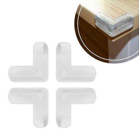 Kit 4 Protetor Quina Bebe Canto Mesa Vidro Moveis PVC Transparente Resistente Segurança