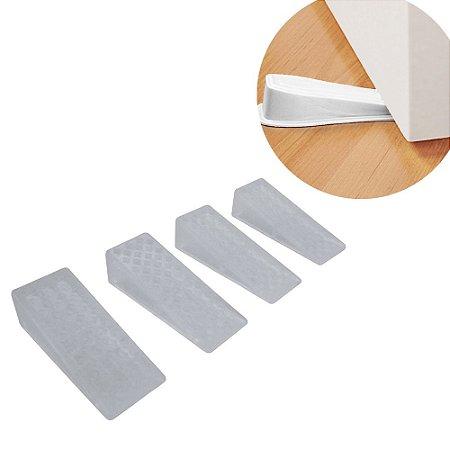 Kit 4 Trava Porta Fixador Peso Prendedor Transparente Resistente Anti Deslizante 4,8 X 1,9cm