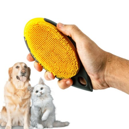 Escova Tira Pelo Removedor Silicone Cachorro Gato Limpeza Amarela Cerdas Longas Cabo Firme
