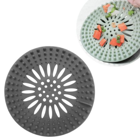 Protetor Ralo Pia Cozinha Banheiro Silicone 13,5cm Multiuso Higienie Cinza Top Clean
