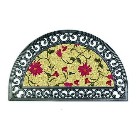 Capacho em Fibra Coco e Detalhes Borracha Moon Flowers