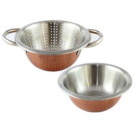 Conjunto Vasilha e Escorredor em Inox  Ø 20cm - Vermelha / Prata