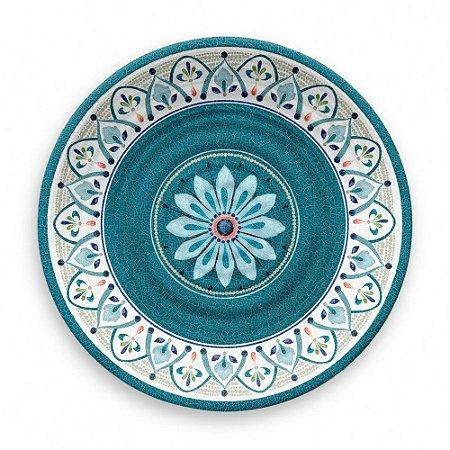 Prato de Jantar Tarhong em Melamina - 27 cm - Linha Marrocos - Azul e Branco
