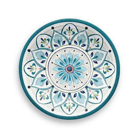 Prato de Sobremesa Tarhong em Melamina - 22 cm - Linha Marrocos - Azul e branco