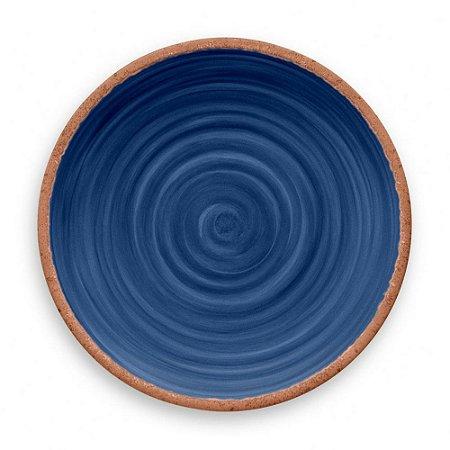 Prato de Jantar Tarhong em Melamina - 27 cm - Linha Rústico - Azul
