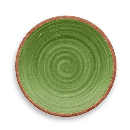Prato de Jantar Tarhong em Melamina - 27 cm - Linha Rústico - Verde