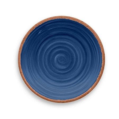 Prato de Sobremesa em Melamina - Ø 22 cm - Linha Rústico - Azul