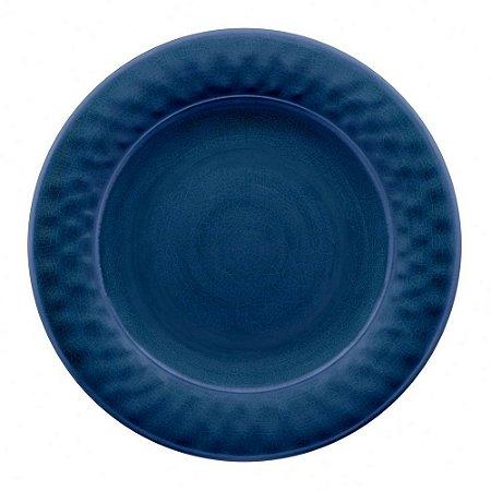 Prato de Jantar Tarhong em Melamina - 27cm - Linha Craquelado - Azul