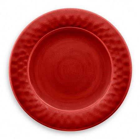 Prato de Jantar em Melamina - Ø 27 cm - Linha Craquelado - Vermelho