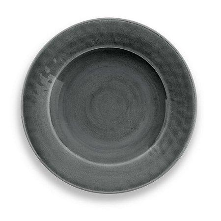 Prato de Sobremesa Tarhong em Melamina - 22 cm - Linha Craquelado - Cinza