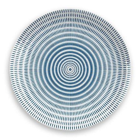 Prato de Jantar em Melamina - Ø 27 cm - Linha Indochina - Azul / Branco