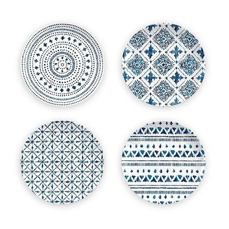 Conjunto de 04 Pratos Sobremesa em Melamina - Ø 22 cm - Linha Indochina - Azul / Branco