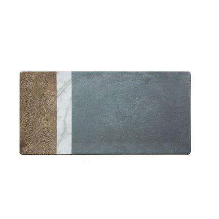 Travessa Falso Mármore para Servir em Melamina - 30,5 cm - TarHong - Linha Marin Carrara - Colorido