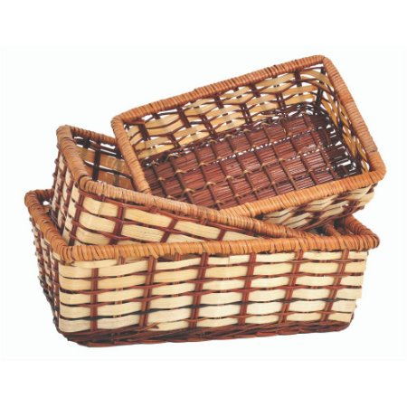 Conjunto com 03 Cestas Retangular Organizadora em Samambaia Trançada 30 28 e 24cm Cozinha e Café da manha