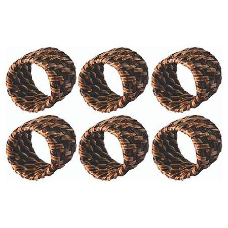 Conjunto com 6 Anéis Para Guardanapo em Rattan Bambu Rústico - Marrom - 5CM