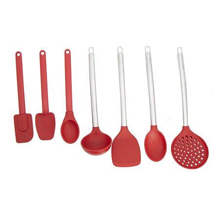 Conjunto Utensílios Cozinha Silicone 07 peças com Colher Concha Espátula Escumadeira em Cabo Inox e Polipropileno