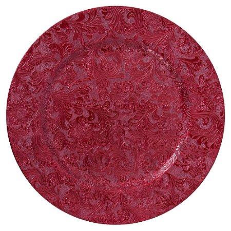 Sousplat Redondo Alto relevo Flores Decorado em Polipropileno 33cm Vinho