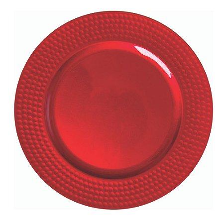 Sousplat Redondo com Borda Alto Relevo em Polipropileno - Vermelho - 33cm