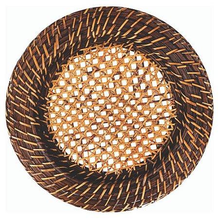 Sousplat Redondo em Rattan e Bambu Com Fundo Tela - 33cm