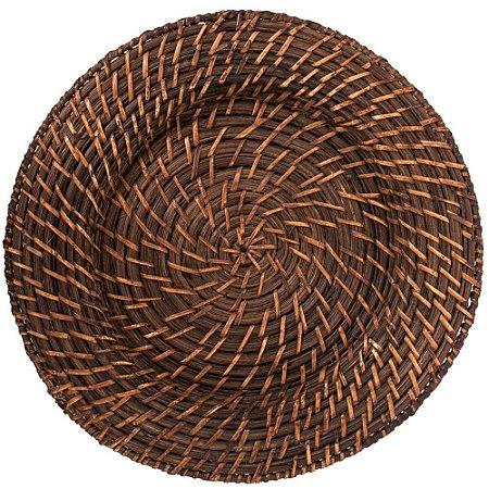 Sousplat Redondo Marrom Escuro em Rattan e Bambu Rústico 32 x 2,5 cm Trançado com Alta Resistência