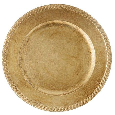 Sousplat Requinte Ouro Velho em Polipropileno para Pratos 33cm Vintage