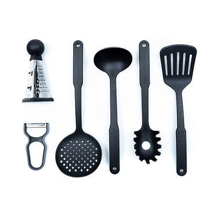 Conjunto de Utensílios para Cozinha Yazi em Nylon Resistente e Aço Inox 6 Peças Cozinha Completa