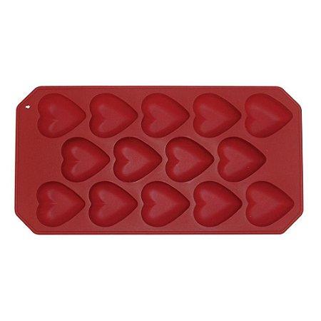 Forma Para Gelo em Silicone Formato Coração Yangzi Vermelho