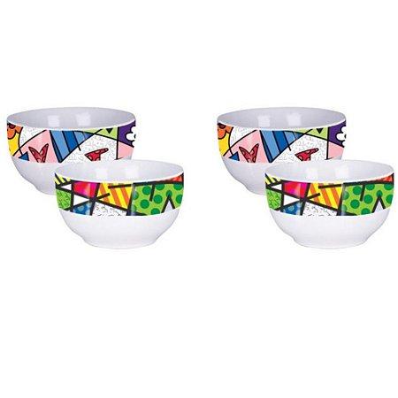Conjunto 04 Bowl Tigela em Porcelana Linha Romero Britto Licenciado 10,5 x 7cm Cor Sortido