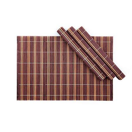 Conjunto 4 Jogo Americano Vinho em Bambu Cru 30 X 45 cm Rústico Mesa Posta Chique  015P