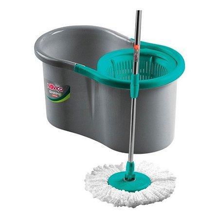 Balde Spin Mop Noviça 13 Litros Esfregão Giratório 360 Bettanin Limpeza Molhada