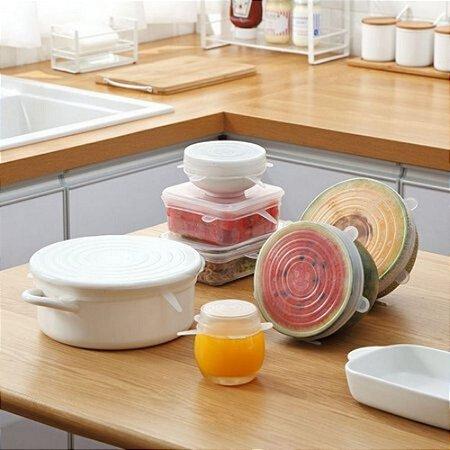 Conjunto 06 Tampas Silicone Flexível Reutilizável Transparente Conserva melhor o Alimento
