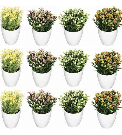 Conjunto 12 Mini Vaso Flor Artificial Atacado Sortido Casa Decoração