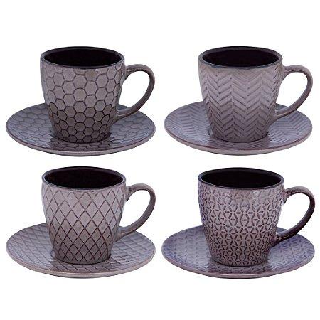Conunto 4 Xícara De Café Cerâmica Escuro Conjunto Mezcla 100 ML