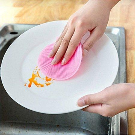 Esponja De Silicone Bucha Antibacteriana Lava Louça Multiuso Rosa