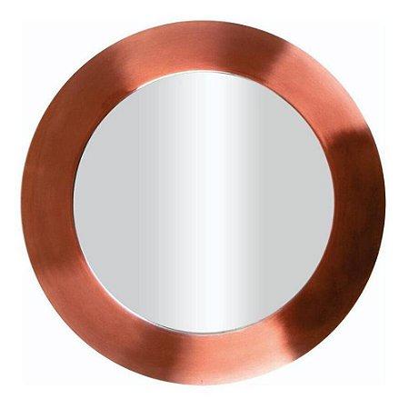 Sousplat Redondo em Aço Inox Espelhado com Borda Rose Gold Fosco 33cm Requinte Mesa Posta
