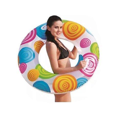 Boia Inflável Redonda Com Alça Fashion 90 Cm Colorida Divertida Verão Piscina Praia