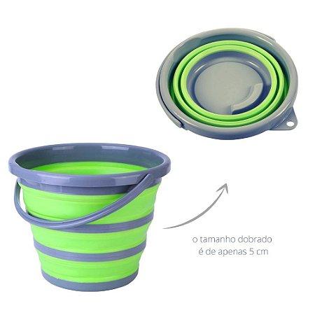 Balde Dobrável Clean 10 Litros Plástico Retrátil Verde Desmontável Organização Ocupa Pouco Espaço