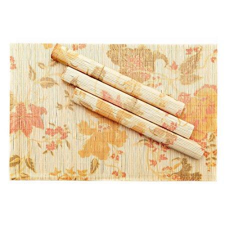 Jogo Americano Em Bambu Flores 4 Peças 30 x 45cm Mimo Style Estiloso Delicado Mesa Posta Chique