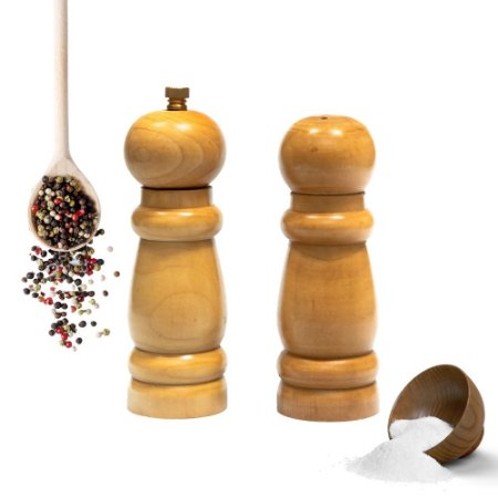 Conjunto Moedor De Pimenta Do Reino E Saleiro 14,5 CM Madeira Funcional Essencial Cozinha