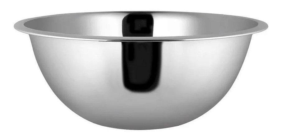 Tigela Bowl 24 Cm Em Aço Inox Yazi Prata Cozinha Completa Funcional