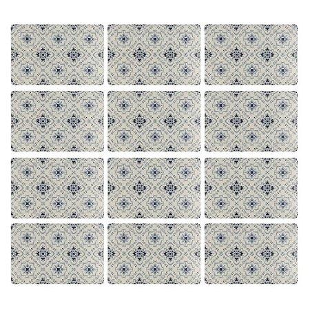 Jogo Americano Retangular 12 Lugares Polipropileno Azul e Branco Cozinha Mesa Posta Tiles