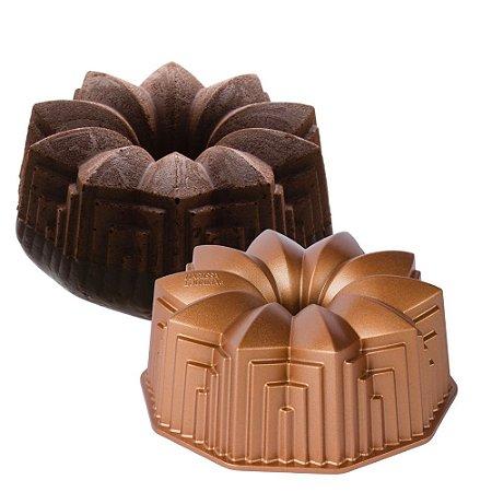 Forma de Bolo Pudim Deco Marissa Lounina 23,5x9 cm Alumínio Fundido Cobre Rosé Gold Cozinha Premium