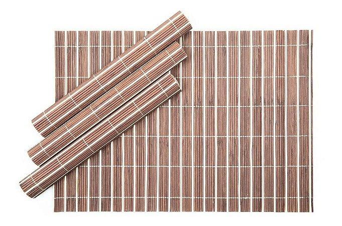 Conjunto 4 Jogo Americano  em Bambu Marrom Claro 30 X 45 cm Rústico Mesa Posta Chique