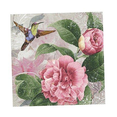 Guardanapo de Papel Decorado Estampado Sustentável Beija-flor e Rosas Pacote com 20 unidades Premium